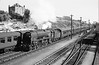 August 1964:  Getting underway from Weymouth is 34995 'Brentor' with eight coaches in tow is bound for Waterloo..