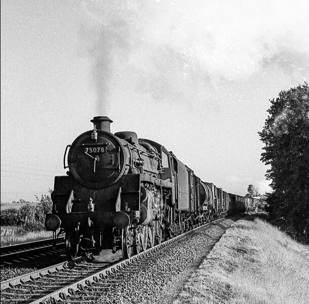August 1864:  75078 is pounding up the grade to Bincombe Tunnel with a freight from Weymouth