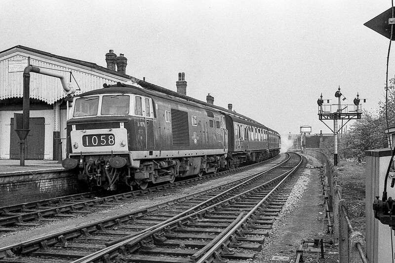 January 1965:  On a cold and dull January day Hymek D7079 stands in Westbury's Platform 1 with a train to Portsmouth