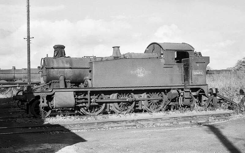 1963; The last but one small Prarie to enterservice in February 1929 was 5573.  Pictured at the rear of Westbury shed it iss obviously out of service but was actually withdrawn from Southall in Junuary 1964.  One of my favourite GWR locos