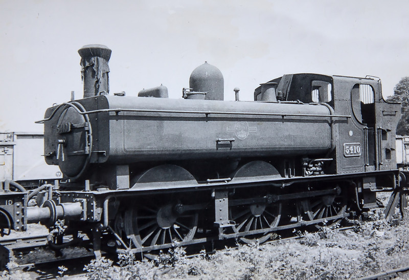 July 1962:  The 54xx Pannier tanks  have always been one of my favourites since many were shedded at 82D Westbury.  Regrettably I only manged to picture one of the class, 5410 was at Westbury in temporary storage before being used on the Yeovil Shuttle services prior to withdrawal.