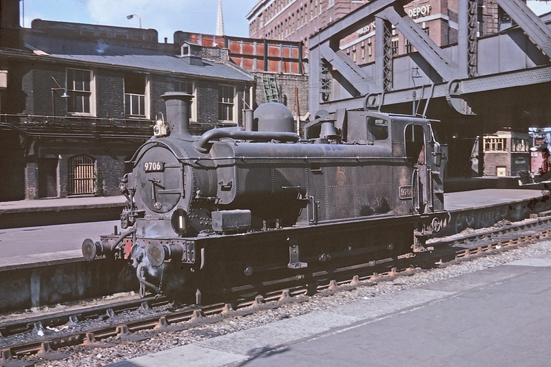Mar '64:  The only colour picture of steam that I ever took.  Condensing panier 9706 runs in to collect  stock to be taken back to Old Oak Common sidings