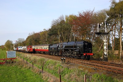 Standard Class 9F No  92203 working the 1640 Sheringham to Holt arriving at Holt on the 21st April 2018