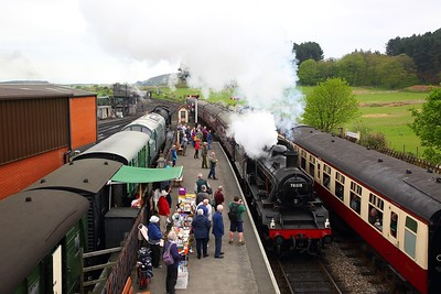 Standard Class 2 No  78018 visiting from the Great Central Railway works the 1033 Sheringham to Holt at Weybourne station on the 21st April 2018