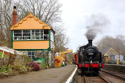 Jinty 47406 stabled next to Midsomer Norton signal box on the 23rd March 2018 2