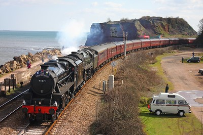 44871 leads 70013 at Dawlish Warren on the 1Z84 Plymouth to Bristol Temple Meads on 7th April 2010