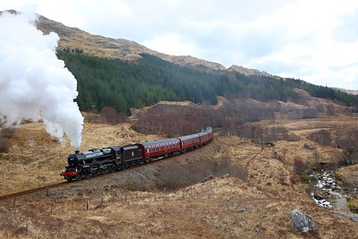 45407 disguised as 45157 departing Glenfinnan with the 2Z61 1015 Fort William to Mallaig Easter Jacobite on the 31st March 2018