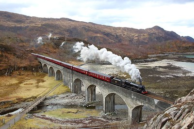 45407 disguised as 45157 at Loch Nan Uamh viaduct with the 2Z61 1015 Fort William to Mallaig Easter Jacobite on the 31st March 2018