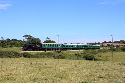 30053 on the 1520 Swanage to Norden at Woodyhyde on the 9th July 2017