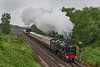 27th Jun 2021:  At 8.4pm and running 35 minutes late  ex LMS 4-6-0 46100 'Royal Scot' is working the return 'English Riviera;' from Kingswear to Bristol Temple Meads.  Had it been on time it would not have been raining and much lighter ansd easier to picture..  So just a record shot but I supppose better than nothing  JUST.