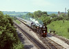 16th Jun 85:  Clan Line carries the 'ACE' headboard as it runs through Princes Risborough.