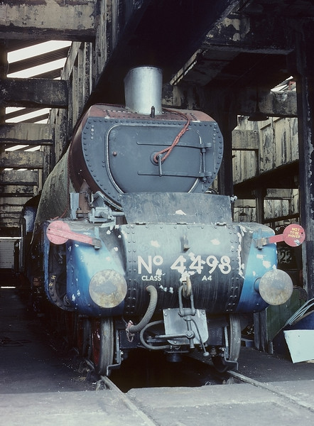 14th Apr 84:  Sir Nigel Gresley undergoing restoration in the old steam shed at Carnforth