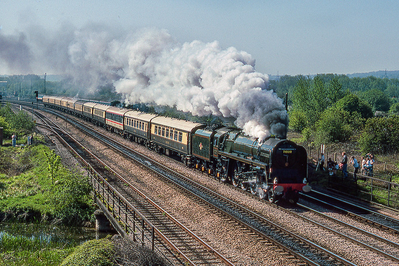 29th Apr 1990:  The driver is giving the whistle a toot as 71000 'Duke of Gloucester' leaves Oxford. The tour organised by the Great Western Society is running from Ealing Broadway to Derby