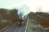 """17th Dec 90:  Taking it's turn on the Shakespear Express is 34028 """"Taw Valley"""", seen here charging through West Wycombe"""