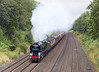 20th Aug 12:  Accellerating hard through the Sonning Cutting, after the Twyford stop, is Merchant Navy Pacific 35028 'Clan Line'.  The Cathedrals Express is running from Victoria to Cardiff via Gloucester