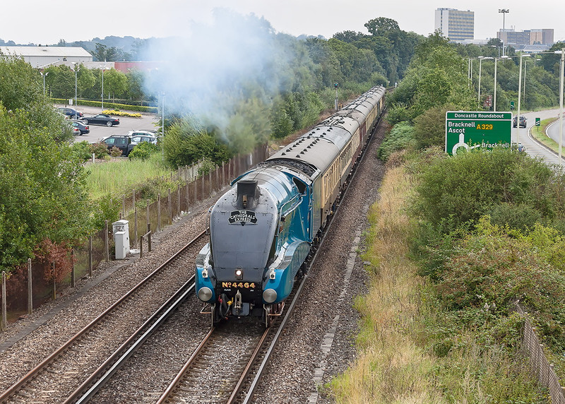 13th Aug 12:  The day's Cathedrals Express was from Victoria to Bristol Temple Meads.  After the Bracknell pick up stop LNER A4 Pacific 'Bittern' is pictured absolutely storming away beside the A329 on it''s way to Reading
