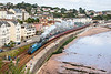 15th Sep 12:  Passing through Dawlish are Bittern and Britannia working 1Z27 'The Mayflower' from Euston to Plymouth.  The first leg to Taunton was in the hands of Tangmere.  Lost the sun as it ran past Langstone Rock !! Sod's Law in Spades.