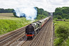 14th Jun 12:  Having just crossed over onto the Fast at Winchfield 70000 'Britannia' accelerates smortly away to the west.  The Cathedrals Express (1Z93) is running from Victoria to Swanage