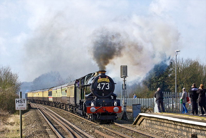 3rd Mar 12:  Miraculously and contrary to the weather forecast the rain cleared away in time for the passing of 6024 'King Edward I' though Twyford.  It was a sight, sound and smell never to be forgotten.  What a shame anout that bloody coach.