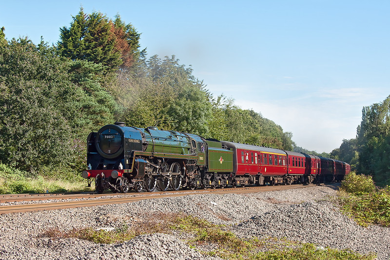 19th Aug 12:  70013 'Oliver Cromwell' is going to the seaside.  1Z44 statred from Paddington and will end at Minehead, captured here at Southcote Junction in Reading