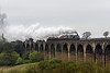 27th Apr 14: 60009 storms across Linlithgow Viaduct with the empty stock from Boness for 'The Forth Circle' tour that starts from Linlithgow