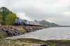"27th Apr14:  On the first ""The Forth Circle"" tour of the season 60007 runs along the shore line at Cuross"