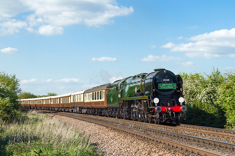 13th May 2015:  35028 'Clan Line' brings the Belmond British Pullman towards Hawkeridge Junction where it will take the East Chord to gain the Berks & Hants line.  It will continue the journey back to Victoria via Reading and Staines