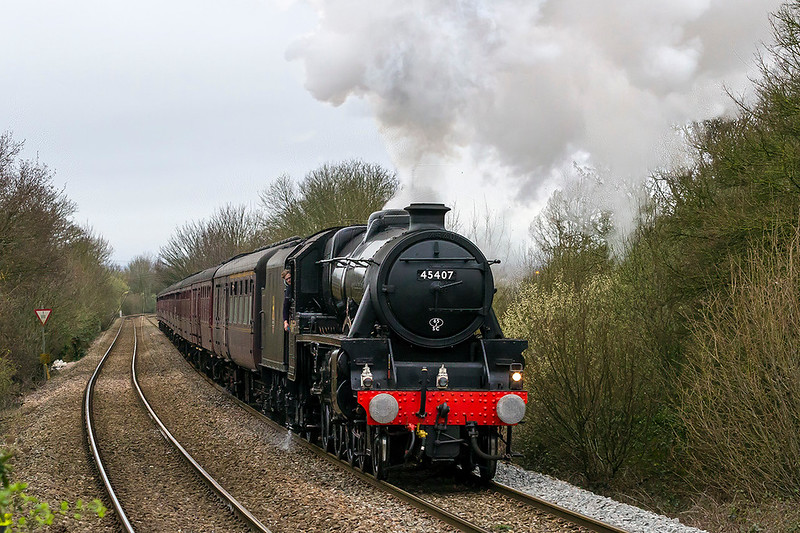 18th Mar 2017:  45407 'Lancashire Fusilier'  is working really hard and sounding great as it pounds up the hill though Dilton Marsh as it heads back to Three Bridges from Bristol Temple Meads
