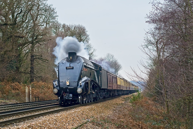 15th Dec 07:  Emergency stand in power for the failed 35028 'Clan Line, is LNER A4 pacific 60009 'Union of South Africa'.  Captured here nearing the top of the sharp rise to Virginia Water.  1Z82 is the VSOE Surrey Hills Luncheon Express from Victoria.