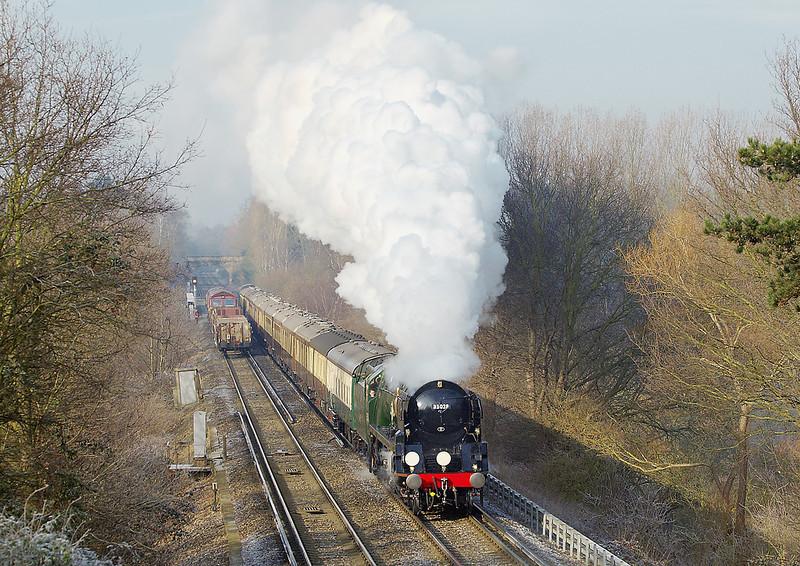 7th Feb:  35028 Clan Line climbing away from Virginia Water with todays VSOE to Bath via Salisbury