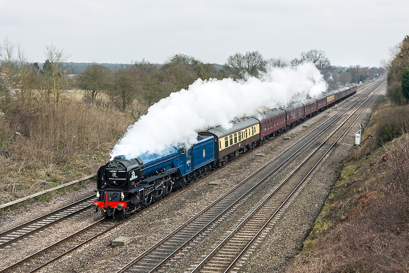 21st Mar 13:  The day's Cathex from Peterborough to Bristol in the hands of 60163 'Tornado' seen from Southbury Lane in Ruscombe