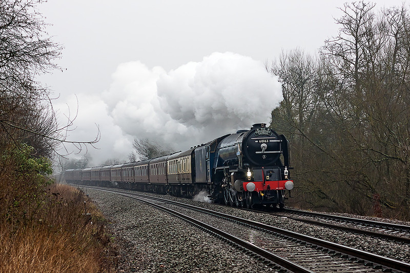 9th Mar 13:  Nearing Midgham is 60163 'Tornado' powering 1Z60 from Paddington to Plymouth.