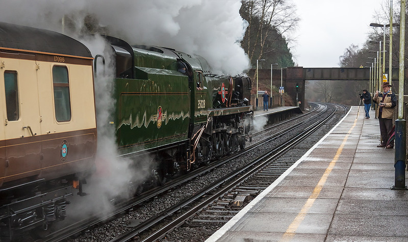 9th Feb 13:  Storming through Worplesdon is 35028 'Clan Line' at the head of the Orient Express 'Surrey Hills Luncheon Special'