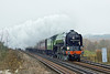 """13th Dec 10:  On it's last tour prior to repainting into Brunswick Green the Cathedrals Express powered by 60163 """"Tornado"""" nears Prune Hill in Egham.  Starting from Hedge End the trip would go via London to Frant and return"""