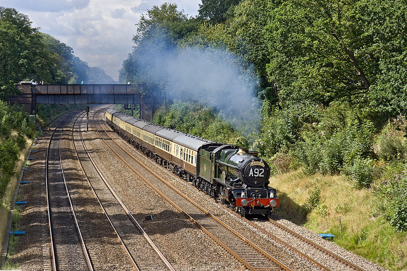 """28th Aug 10:  6024 """"King Edward I"""" looking and sounding superb as it roars through the Sonning Cutting while working """"The Bristolian"""" from Bristol Temple Meads to Paddington"""