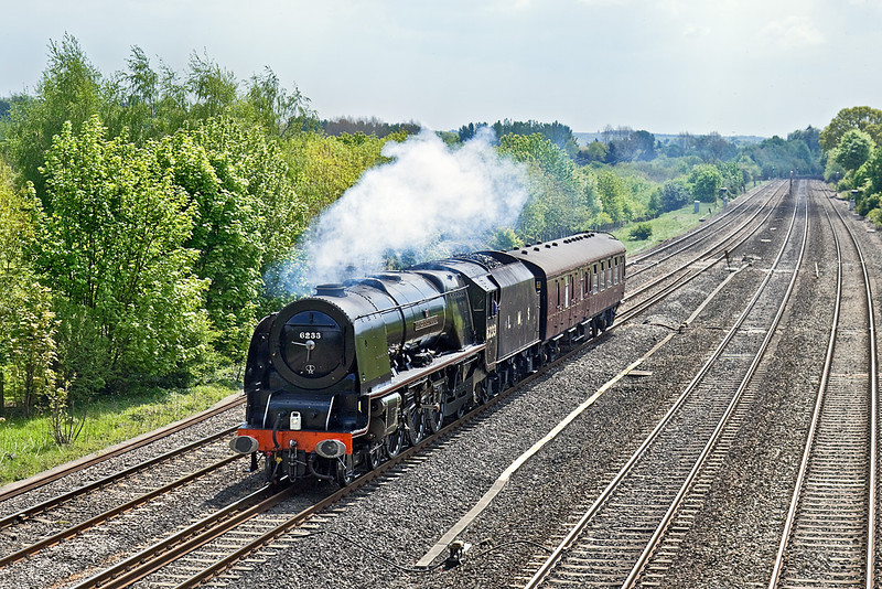 18th May 10:  Working Back to Crewe is LMS Pacific 6233 Duchess of Sutherland. Seen here at Lower Basildon