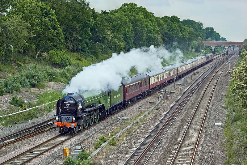 """29th May 10:  The """"Bath and Bristol Explorer"""" started from Ashford behind a diesel and changed to """"Tornado"""" at Willesden.  60163 is captured here working 1Z84 west through Twyford."""