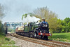 """24th April 11:  Rounding the curve through Crofton is GWR Castle Class 4-6-0  5029 """"Nunney Castle"""" working the final leg of 'The Great Britain IV' steam tour round the British Isles"""