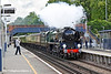 14th May 11:  Charging through Virginia Water is 35028 Clan Line heading the VSOE Pullman set to Oxford from Victoria