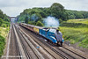 26th Jul 11:  Doing 75 mph and sounding superb LNER A4 Pacxific 4492 Dominion of New Zealand heads The Dorset Coast Express to Weymouth - Totters Lane