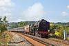 28th Jul 11:  Nearing Rusham Crossing in Egham is 70000 'Britannia' working 1Z90 from Salisbury to Canterbury