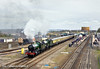 2nd Apr 11: The return leg of the Coronation Express from Didcot toTyseley departs to the west headed by 4965 Rood Ashton Hall and 5043 Earl of Mount Edgcumbe.