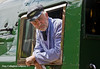 8th Jul 11:  The Driver of 35028 on the VSOE, at least as far as the Shalford  water stop where he will swop jobs with the fireman