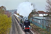 9th Dec 09:  The Surrey Hill Luncheon Express run by VSOE and powered by 35028 Clan Line acrosses Addlestone Moor and away from Chertsey