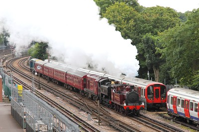 Met Steam Loco No 1+9466+20142+4 TC set+20205 on the 1929 Harrow-on-the-Hill to Amersham at Rickmansworth on the 10th September 2017