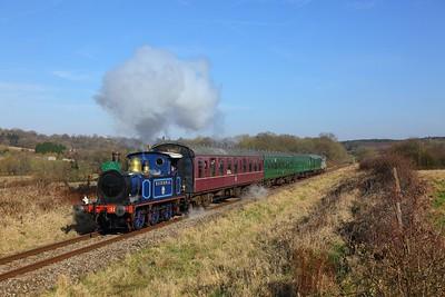 323 Bluebell leads the 1340 Tunbridge Wells to Eridge near Groombridge on the 24th February 2018
