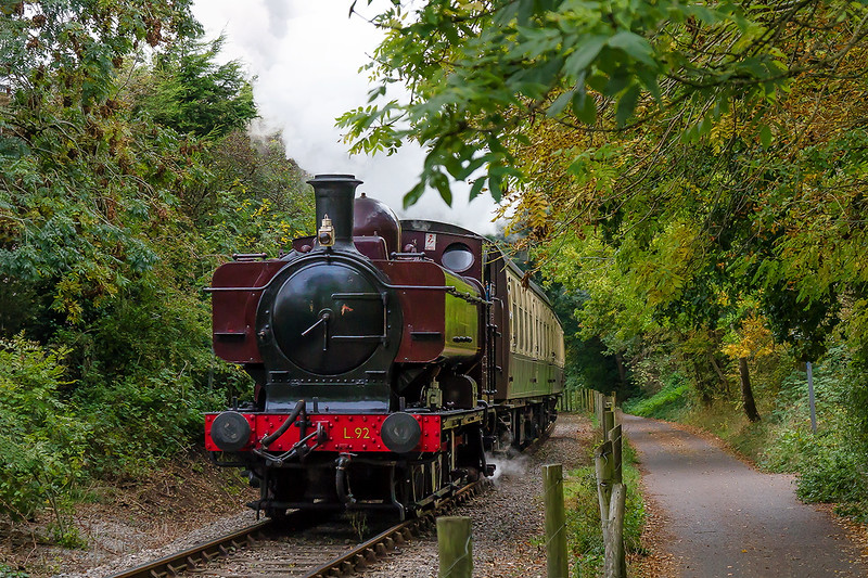 17th Oct 2015:  L92  was GWR 5752 built in Swindon in 1929 and withdrawn in Februry 1957 when it was transferred to London Transport.  Captured here running between Bitton and Oldland Common on the Avon Valler Railway