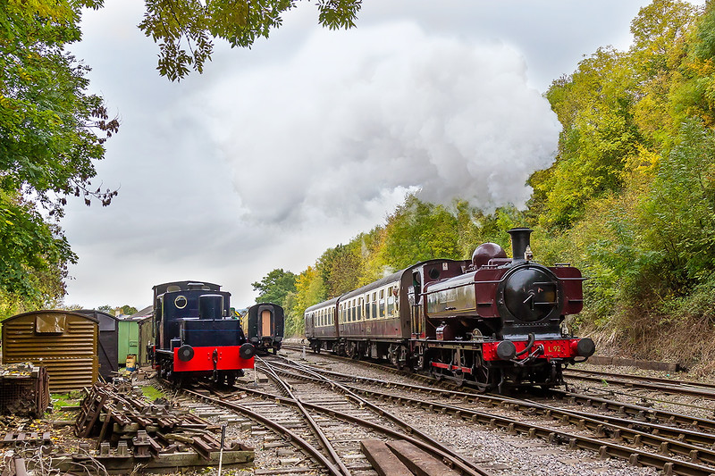 17th Oct 2015:  L92  was GWR 5752 built in Swindon in 1929 and withdrawn in Februry 1957 when it was transferred to London Transport.  Captured here departing from Bitton and heading for Oldland Common