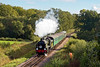 """17th Oct 10:  The 3pm from Sheffield Park to Kingscote passes the Waterworks.  The large disc over the bufferbeam is a head lamp for use during the filming and """"Southern"""" is covered on the tender"""