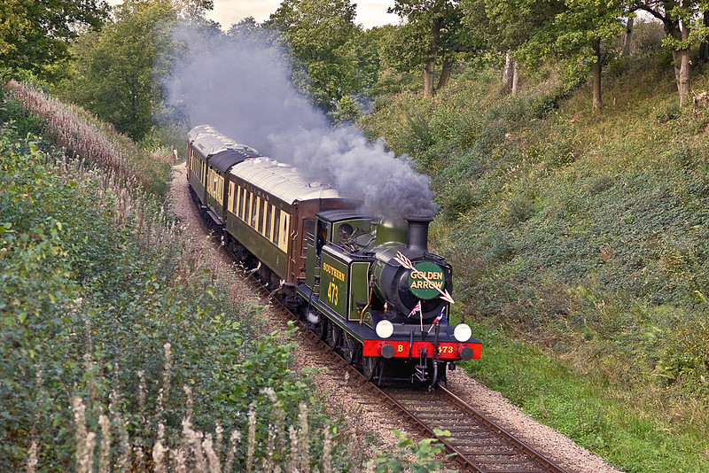 17th Oct 10:  The E4 on the Pullman dining train drops down the grade near the Waterworks between Horsted Keynes and Sheffield Park